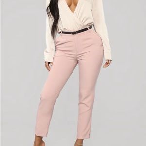 Here To Stay Pink Belted Fashion Nova Pants